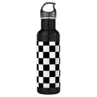 Retro Black/White Contrast Checkerboard Pattern 710 Ml Water Bottle