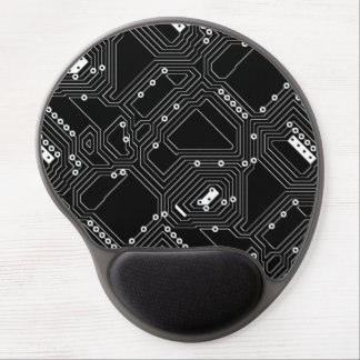 Retro Black White Cool Computer Circuit Board Gel Mouse Pad