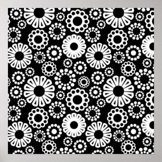 Retro black white flowers Poster
