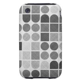 Retro Black & White Geometric Pattern iPhone 3 Tough Cover