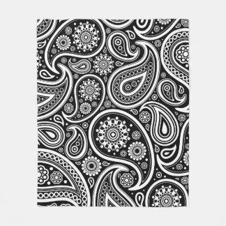 Retro Black White Paisley Print Fleece Blanket