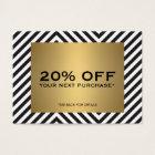 Retro Black White Pattern Gold Name Coupon Card