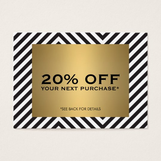Retro Black White Pattern Gold Name Coupon Card
