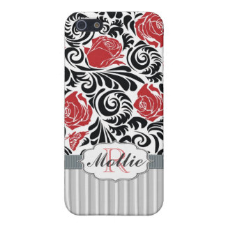 Retro black, white, red swirls and roses Speck iPhone 5/5S Cases