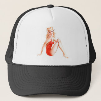 Retro Blonde Pin Up Girl Trucker Hat