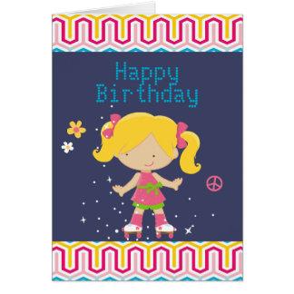 Retro Blonde Roller Skating Birthday Greeting Card