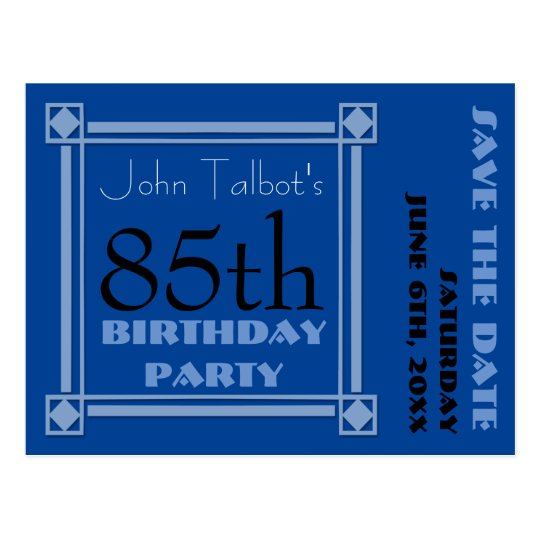 Retro Blue 85th birthday Party Save the Date