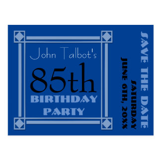 Retro Blue 85th birthday Party Save the Date Postcard