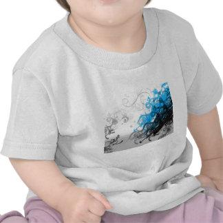 retro blue abstract design tee shirt