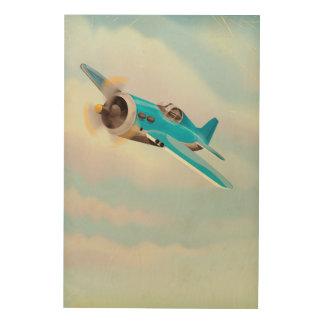 Retro Blue airplane Wood Canvas