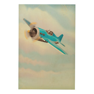 Retro Blue airplane Wood Print