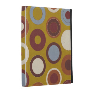 Retro Blue and Brown Circles Pattern iPad Folio Cover