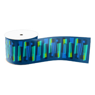 Retro Blue and Green Abstract Print Ribbon Grosgrain Ribbon