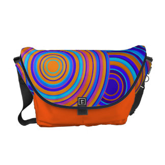 Retro Blue and Orange Circles Pattern Bag Commuter Bags