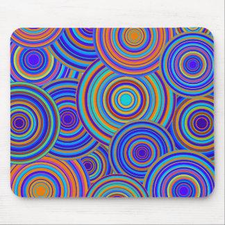 Retro Blue and Orange Circles Pattern Mouse Mat
