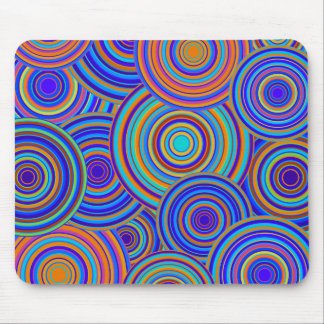 Retro Blue and Orange Circles Pattern Mouse Pad