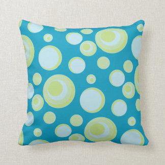 Retro Blue and Yellow Polka Dots and Circles Throw Pillow