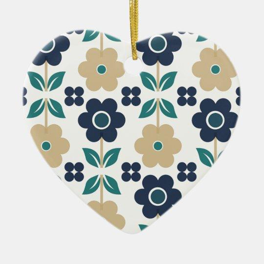 Retro Blue/Beige flowers Dble-sided Heart Ornanent Christmas Ornament
