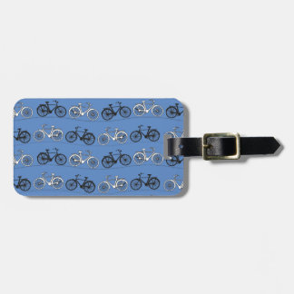 Retro Blue Bicycle Pattern Luggage Tag