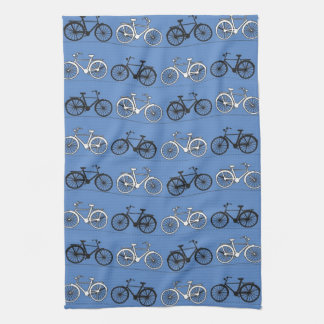 Retro Blue Bicycle Pattern Hand Towel