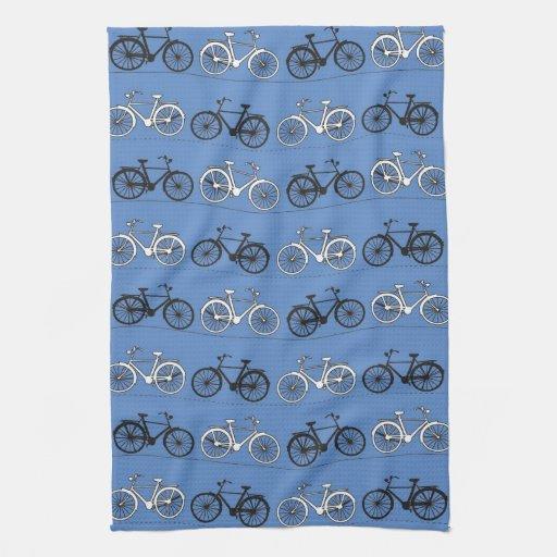Retro Blue Bicycle Pattern Towel
