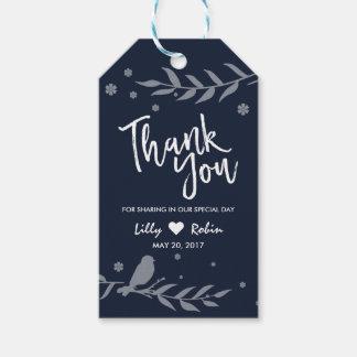 Retro Blue Bird on Leaf Wedding Thank You Gift Tags