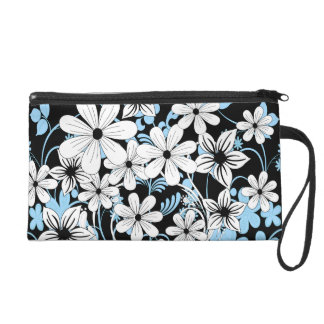 Retro Blue Black and White Floral Pattern Wristlet Purses