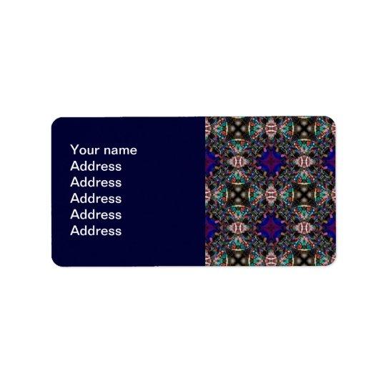 Retro Blue Blossom Fractal Pattern Address Label