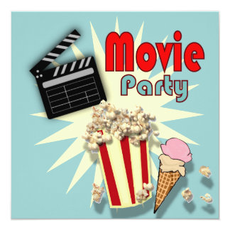 Retro blue Boys Movie Birthday Party Invitation