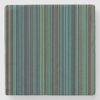 Retro blue brown green stripe marble stone coaster