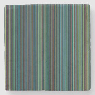 Retro blue brown green stripe marble stone coaster