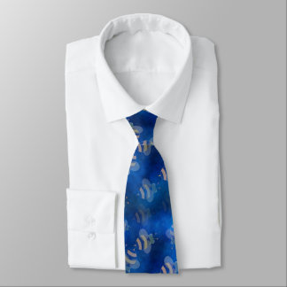 retro  Blue bumble bee rockabilly neck tie