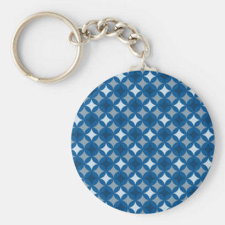 Retro Blue Circle Pattern Keychains