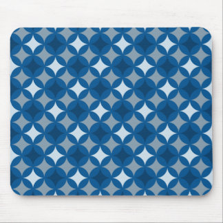 Retro Blue Circle Pattern Mouse Pad
