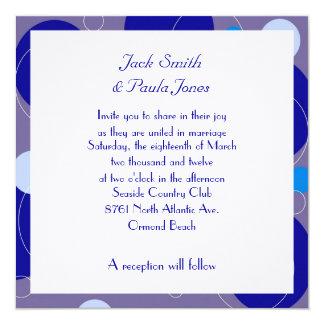 Retro Blue Circles Square Wedding Invitation