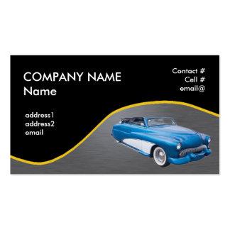 Retro blue convertible business card templates