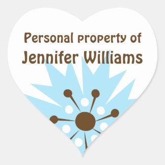 Retro blue cornflower property labels heart sticker