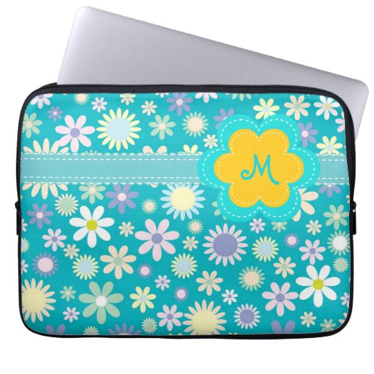 Retro Blue Flower Power Monogram Computer Sleeve