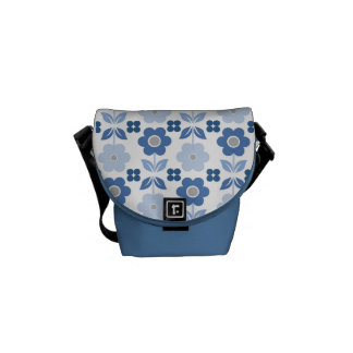 Retro Blue Flowers Commuter Bag