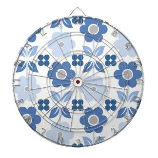 Retro Blue Flowers Dartboard