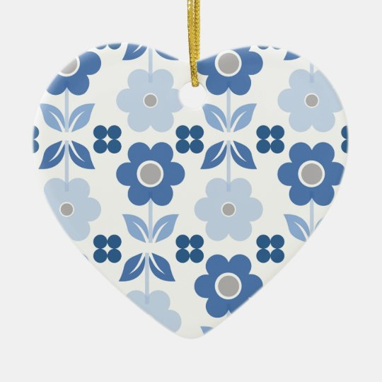 Retro Blue Flowers Dble-sided Heart Ornanent Christmas Ornament