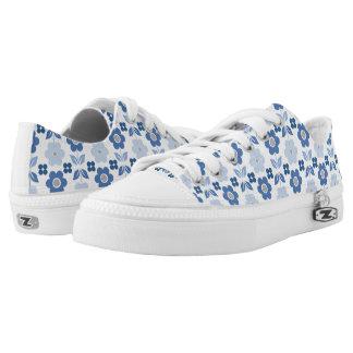 Retro Blue Flowers Low Tops