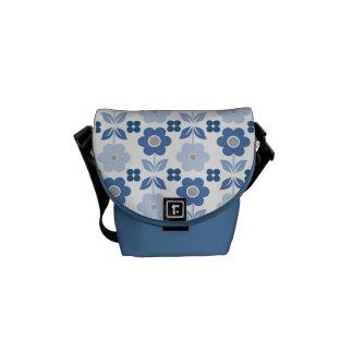 Retro Blue Flowers Messenger Bag