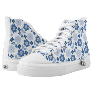 Retro Blue Flowers Zipz High Top Shoes