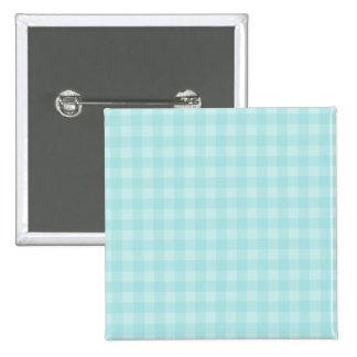 Retro Blue Gingham Checkered Pattern Background 15 Cm Square Badge