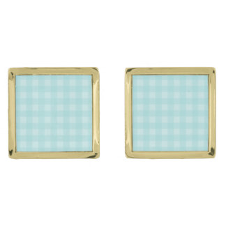 Retro Blue Gingham Checkered Pattern Background Gold Finish Cufflinks
