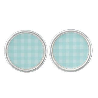 Retro Blue Gingham Checkered Pattern Background Cufflinks