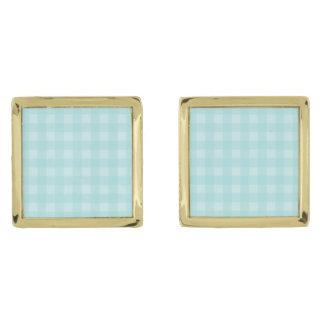 Retro Blue Gingham Checkered Pattern Background Gold Finish Cufflinks