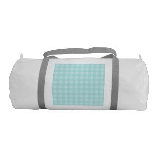 Retro Blue Gingham Checkered Pattern Background Gym Duffel Bag