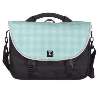 Retro Blue Gingham Checkered Pattern Background Bags For Laptop